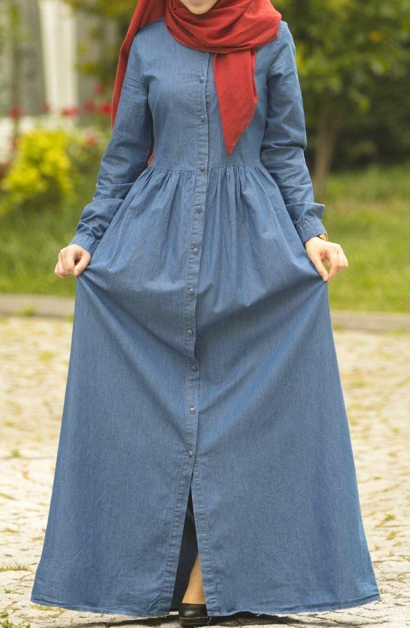 65abd4f537642 Boydan Düğmeli Büzgülü Kot Elbise - Mavi Elbise, Kot Elbise - Suhneva
