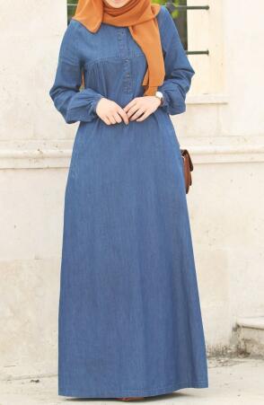 19667bc8ec5a1 Önden Düğmeli Kot Elbise - Mavi